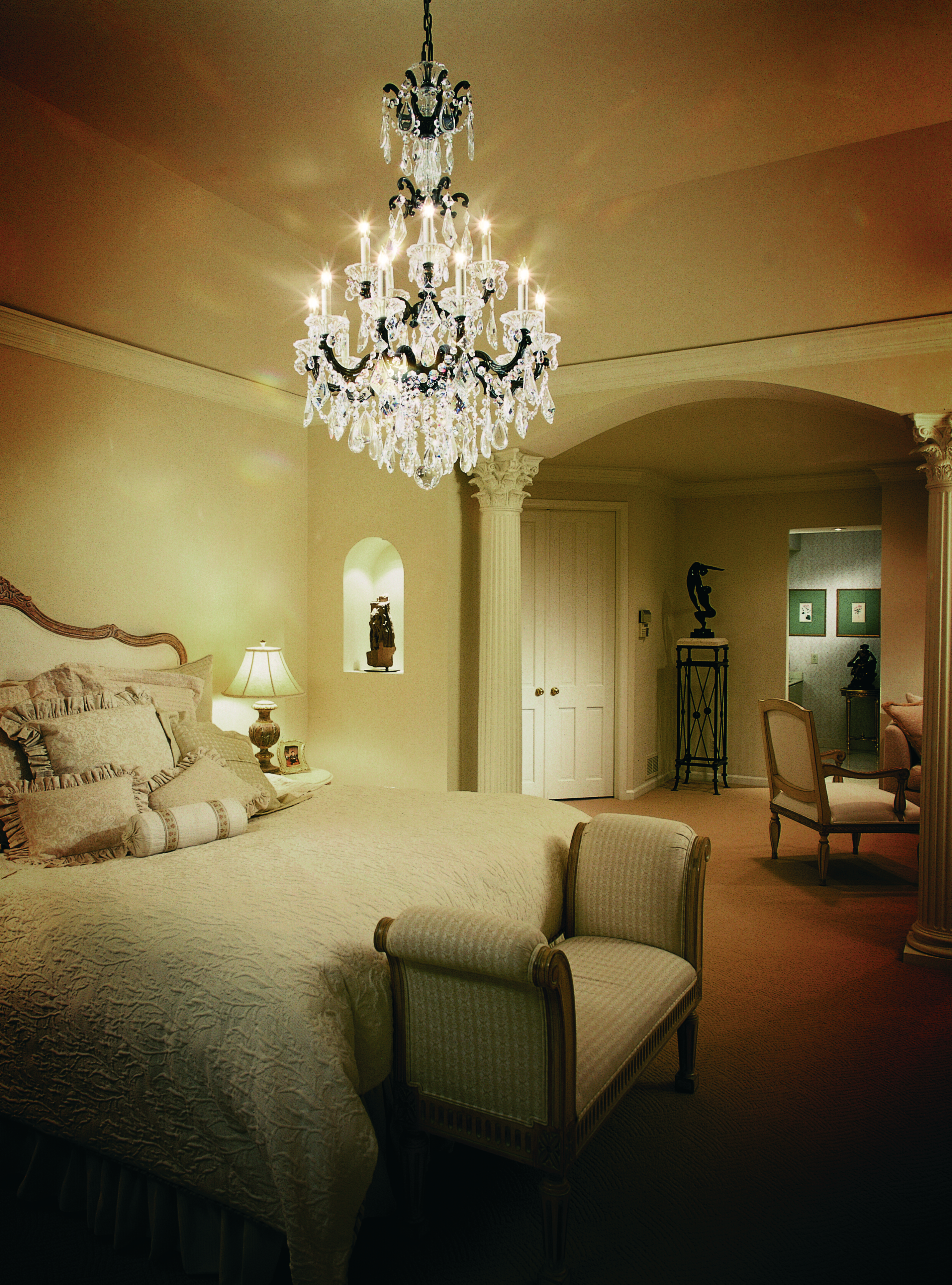 Make a grand statement with chandeliers in the bedroom ...
